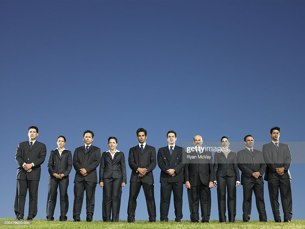 Business executives standing in row on field : Stock Photo