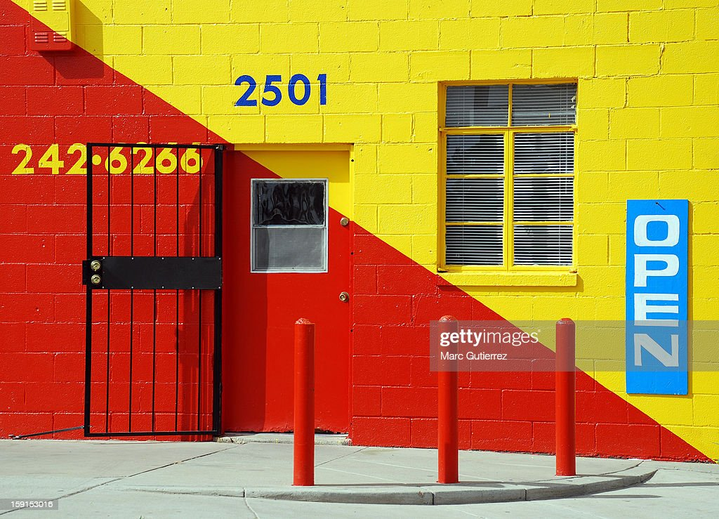 CONTENT] Business exterior with bright geometrical colors.