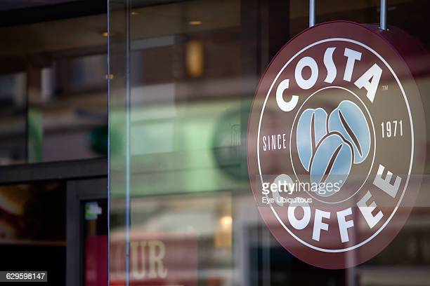Business Food Drink Catering Costa Coffee shop sign in the window of a high street outlet