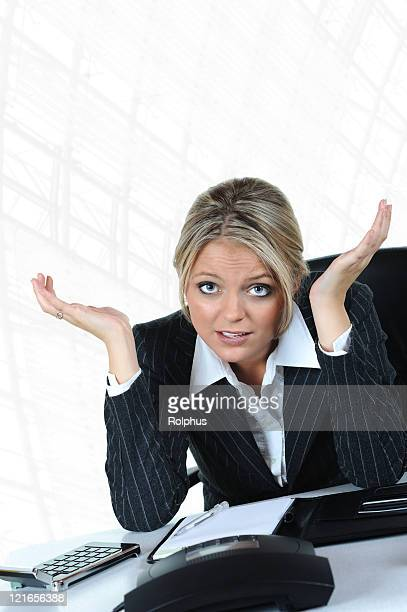 Business Frustration Blond Woman in Despair