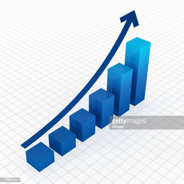 Business graph in blue