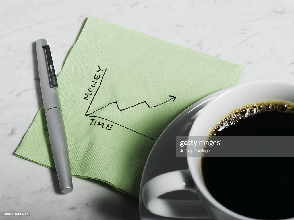 Business Graph on Napkin : Stock Photo