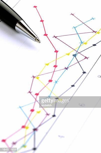 Business graph with pen