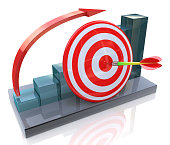 Business graph with rising arrow and red target in the design of information related to the business and success