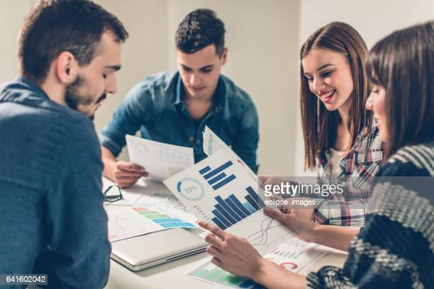 Business group meeting, casual look, freelance work.