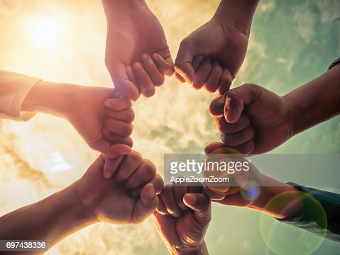 Business group with hands together, teamwork concepts : Stock Photo