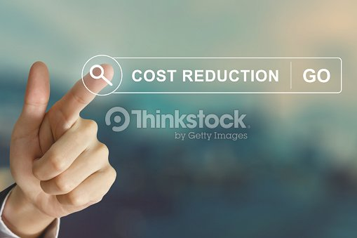 Business hand clicking cost reduction button on search toolbar
