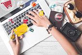business hand holding credit card. cart shopping online payment e-commerce internet technology market concept.