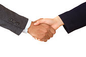 Business Handshake of unrecognized company, isolated white background