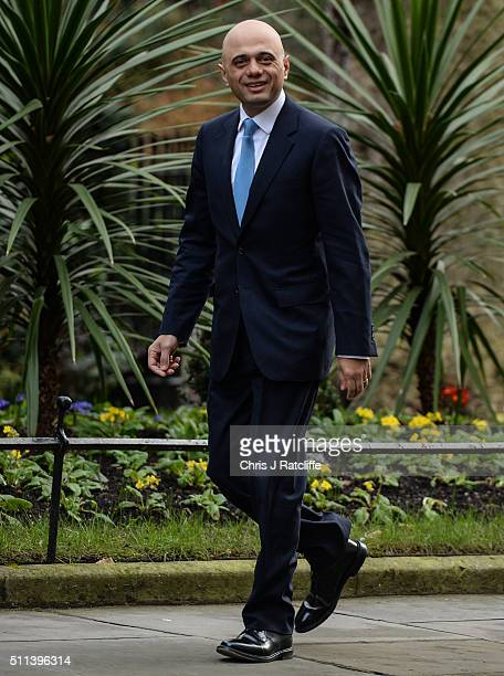 Business Innovation and Skills Secretary Sajid Javid arrives at Downing Street on February 20 2016 in London England Mr Cameron has returned to...