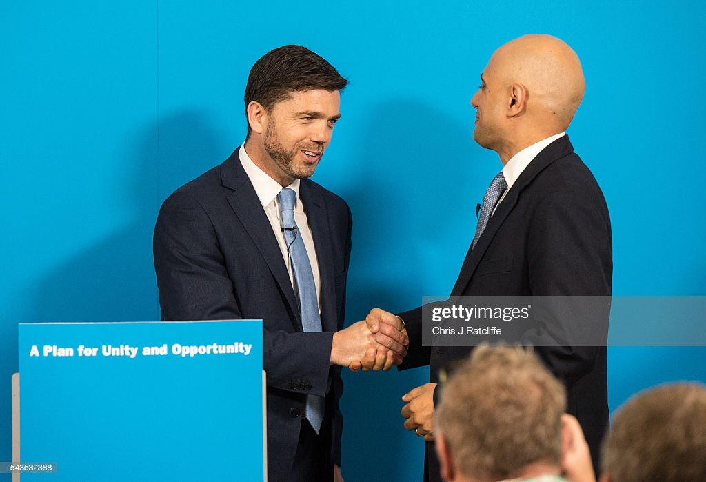 Business, Innovations and Skills Secretary <a gi-track='captionPersonalityLinkClicked' href=/galleries/search?phrase=Sajid+Javid&family=editorial&specificpeople=10536168 ng-click='$event.stopPropagation()'>Sajid Javid</a> greets at a press conference Work and Pensions Minister <a gi-track='captionPersonalityLinkClicked' href=/galleries/search?phrase=Stephen+Crabb&family=editorial&specificpeople=13218086 ng-click='$event.stopPropagation()'>Stephen Crabb</a> before he announced his running for the Conservative Party leadership on June 29, 2016 in London, England. Nominations in the Tory Party leadership race open today with MP Boris Johnson, Home Secretary Theresa May and Work and Pensions Minster <a gi-track='captionPersonalityLinkClicked' href=/galleries/search?phrase=Stephen+Crabb&family=editorial&specificpeople=13218086 ng-click='$event.stopPropagation()'>Stephen Crabb</a> expected to declare by midday on Thursday. The new leader will move straight into Downing Street by 9 September.