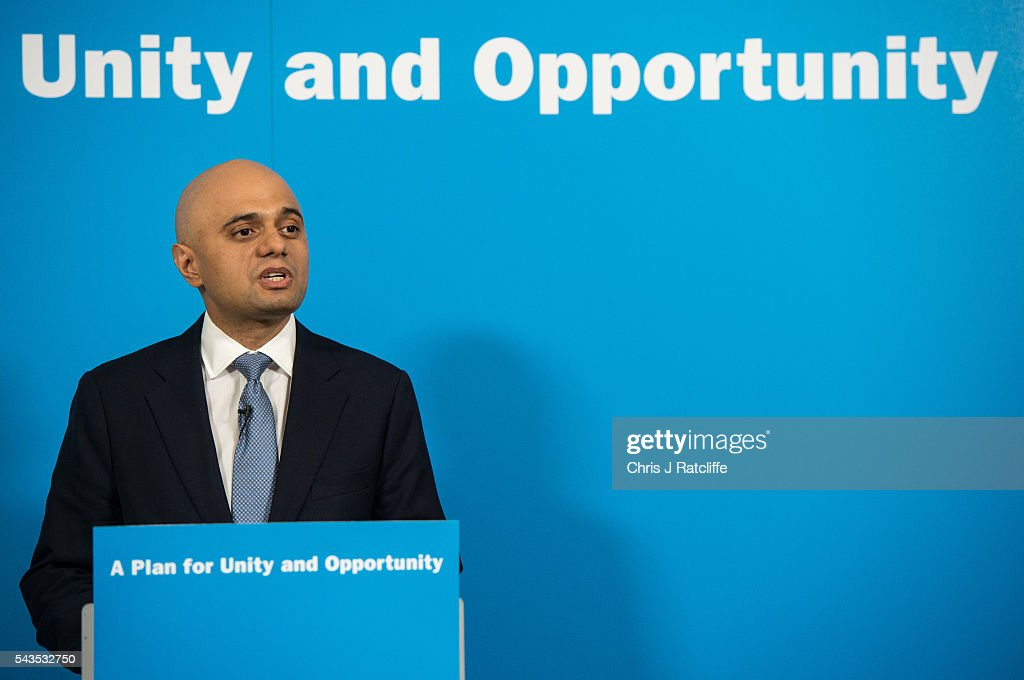 Business, Innovations and Skills Secretary <a gi-track='captionPersonalityLinkClicked' href=/galleries/search?phrase=Sajid+Javid&family=editorial&specificpeople=10536168 ng-click='$event.stopPropagation()'>Sajid Javid</a> speaks at a press conference for Work and Pensions Minister Stephen Crabb who announced his running for the Conservative Party leadership on June 29, 2016 in London, England. Nominations in the Tory Party leadership race open today with MP Boris Johnson, Home Secretary Theresa May and Work and Pensions Minster Stephen Crabb expected to declare by midday on Thursday. The new leader will move straight into Downing Street by 9 September.