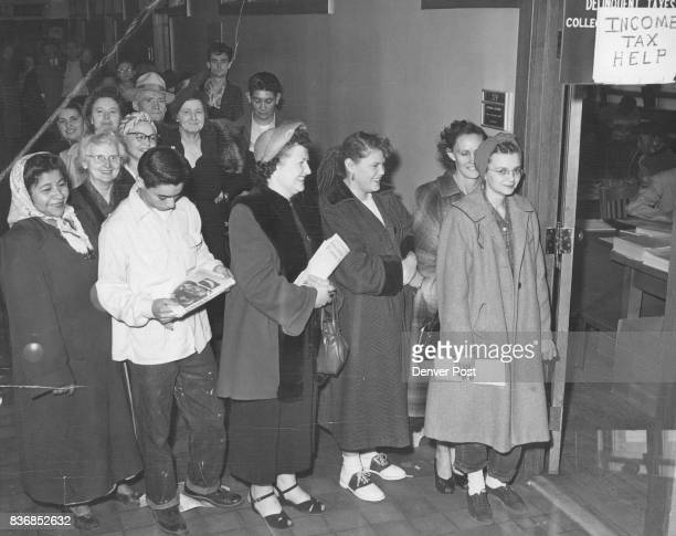 Business is picking up at the internal revenue bureau office in the New Customhouse as the deadline for paying 1952 income taxes nears A long line...