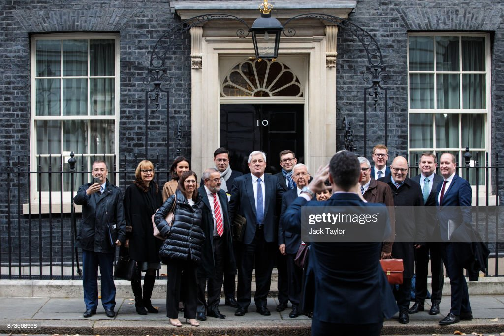 Business leaders and European politicians pose for a photograph as they leave number Number 10 Downing Street on November 13, 2017 in London, England. British Prime Minister Theresa May held a meeting with European business leaders today over their concerns about the future of UK-EU trade arrangements after Brexit.