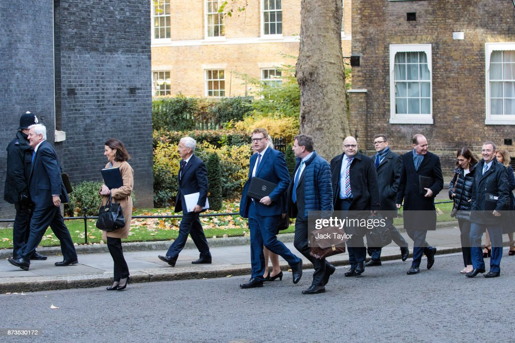 Business leaders including President of the Confederation of British Industry Paul Drechsler, director general of the CBI Carolyn Fairbairn, director general of the BDI Joachim Lang and director general of the IoD Stephen Martin arrive at Number 10 Downing Street on November 13, 2017 in London, England. British Prime Minister Theresa May is to hold a meeting with European business leaders today over their concerns about the future of UK-EU trade arrangements after Brexit.