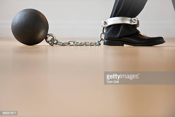 business leg in ball and chain