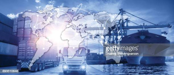 Business Logistics concept, Global business connection technology interface global partner connection of Container Cargo freight ship
