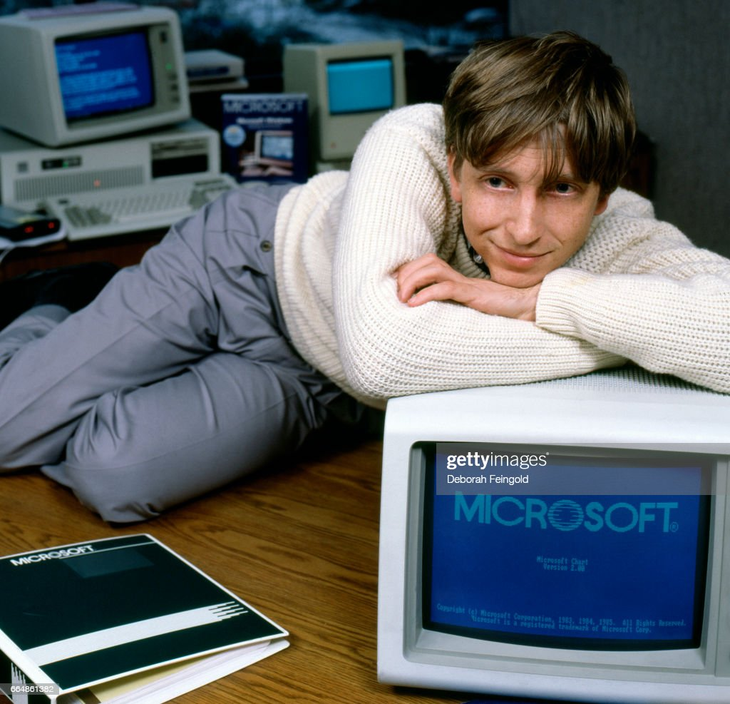 Business magnate and Microsoft co-founder Bill Gates poses in November 1985 in Bellevue, Washington.