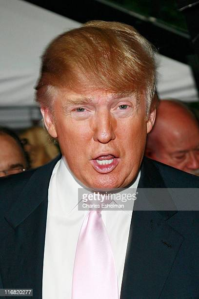 Business magnate Donald Trump attends the debut of a Lego replica of the Trump International Hotel Tower Dubai on June 23 2008 at the Columbus Circle...