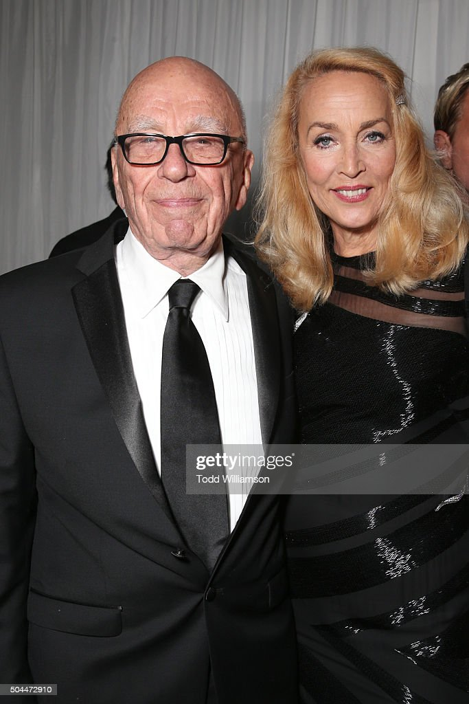 Business magnate <a gi-track='captionPersonalityLinkClicked' href=/galleries/search?phrase=Rupert+Murdoch&family=editorial&specificpeople=160571 ng-click='$event.stopPropagation()'>Rupert Murdoch</a> (L) and model <a gi-track='captionPersonalityLinkClicked' href=/galleries/search?phrase=Jerry+Hall&family=editorial&specificpeople=171120 ng-click='$event.stopPropagation()'>Jerry Hall</a> attend FOX Golden Globe Awards Party 2016 sponsored by American Airlines at The Beverly Hilton Hotel on January 10, 2016 in Beverly Hills, California.