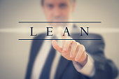 a Business man in a suit touching word 'Lean'