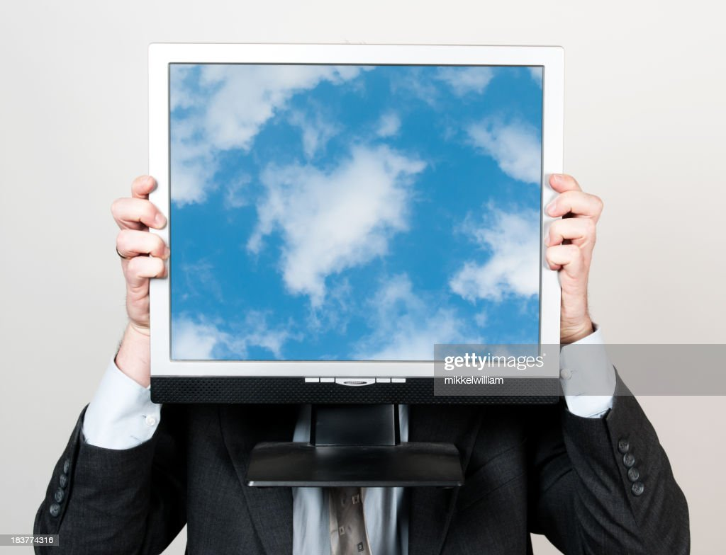 Business man and cloud computing