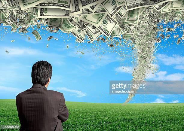 Uomo d'affari e soldi storm