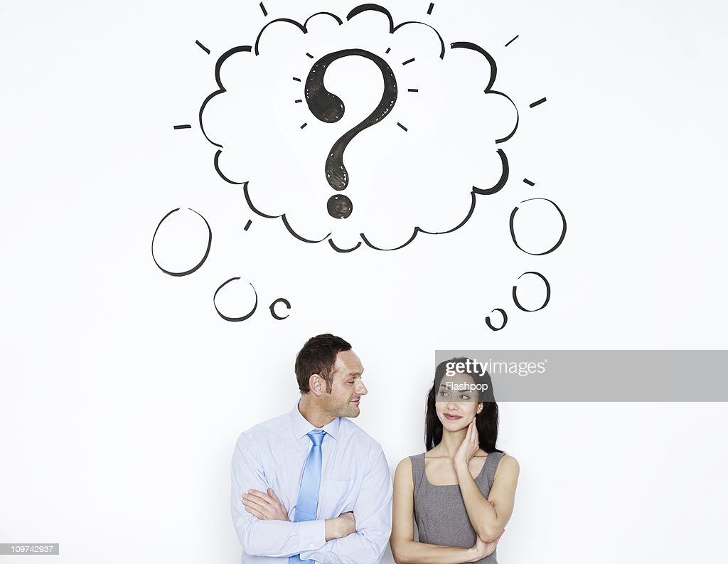 Business man and woman sharing thought bubble