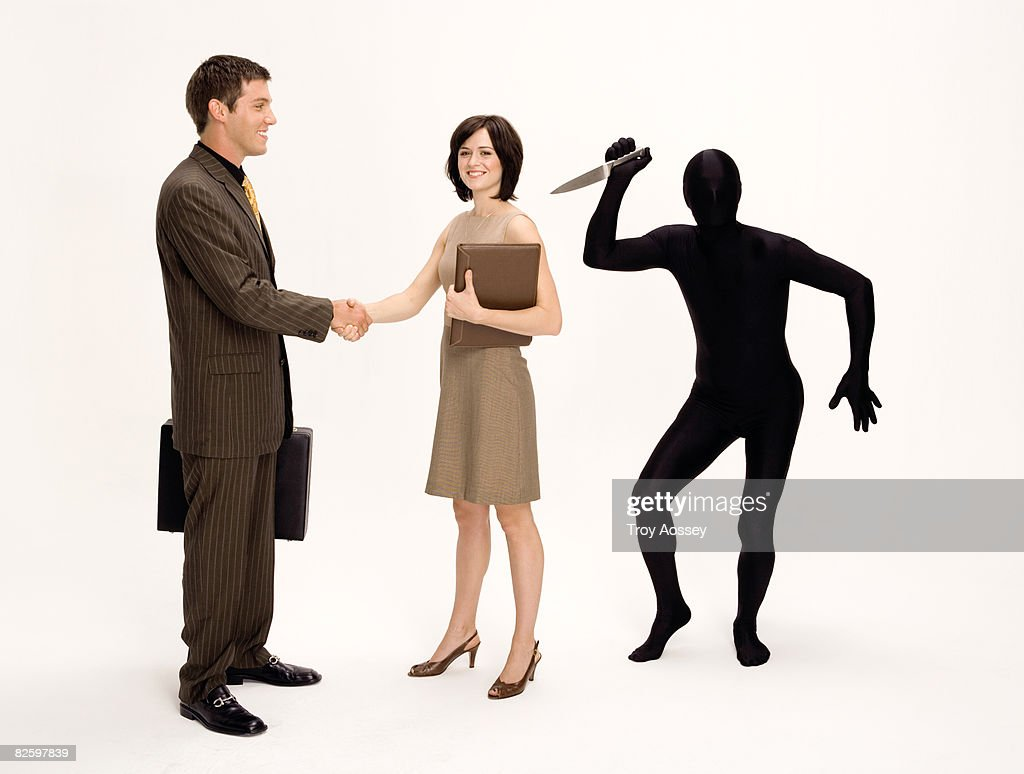 business man and woman with back : Stock Photo