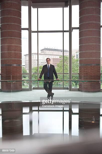 business man at railing
