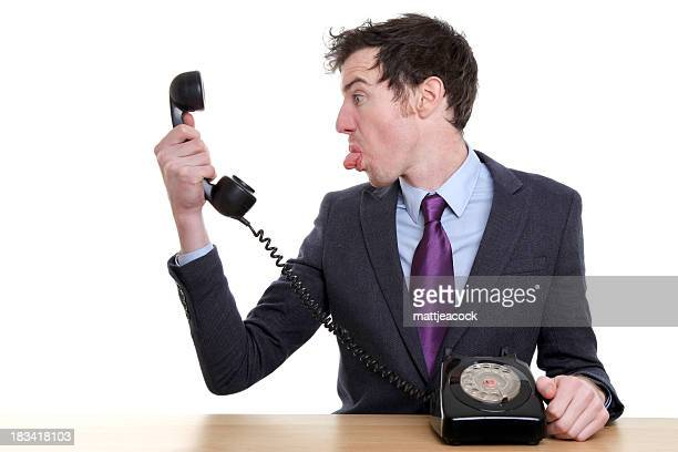 Business man behaving rude on phone call