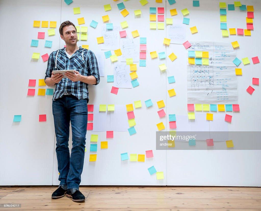 Business man brainstorming