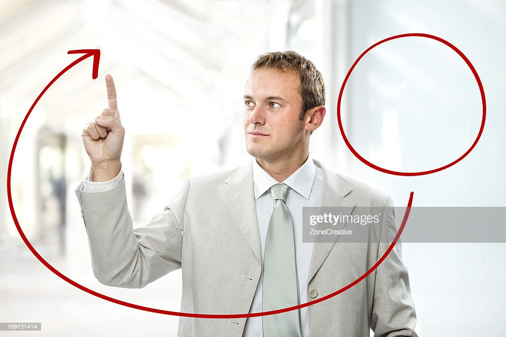 business man brainstorming with diagram and connections : Stock Photo