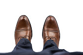 Business Man Brown Shoes Top View