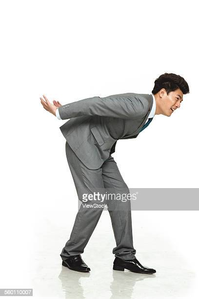 A business man do weight-bearing activities