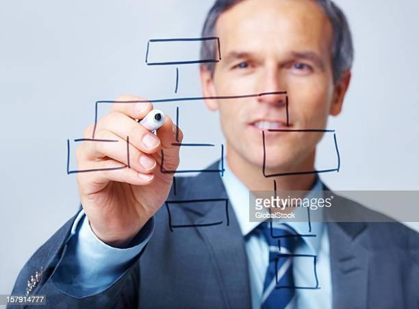 Business man drawing chart