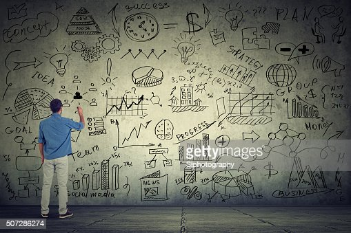Business man entrepreneur writing new project calculations : Stock Photo