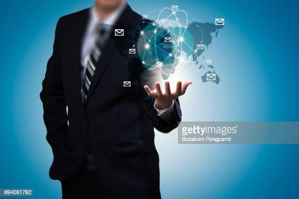 Business man hand holding email concept business design, email in hand of businessman