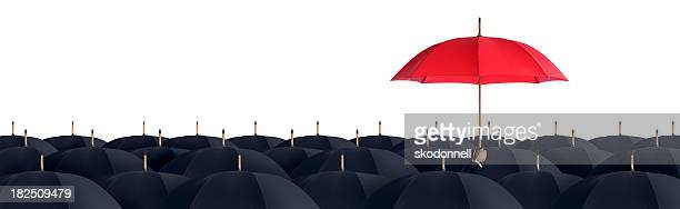 Business Man Holding a Red Umbrella