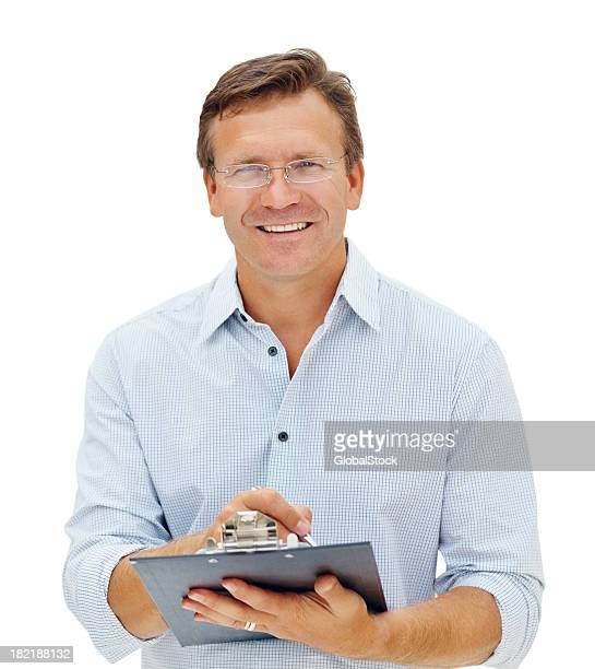 Business man holding clipboard over white