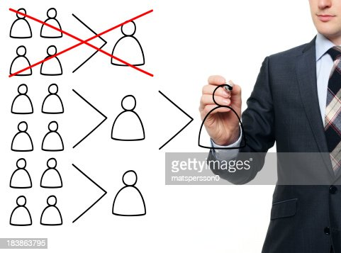 Business man illustrating the termination of a department