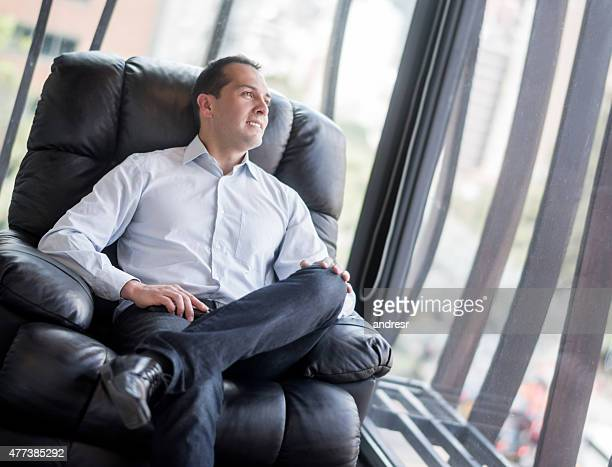 Business man in a comfortable chair