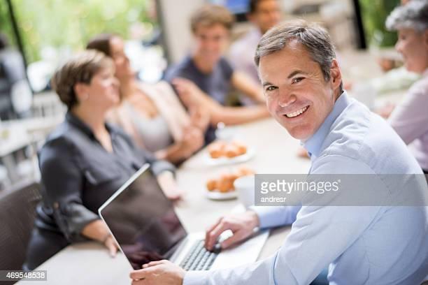 Business man in a corporate breakfast