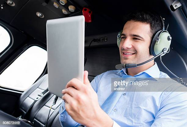 Business man in a helicopter