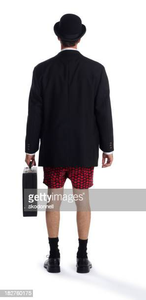 Business Man in Boxer Shorts on White