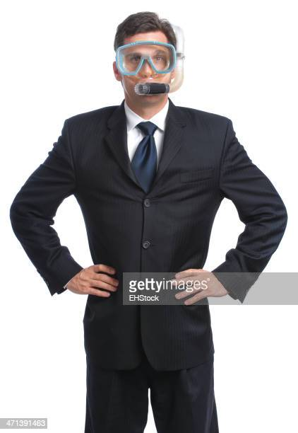 Business Man in Diving Mask Snorkel Hands on Hips White