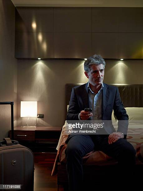 Business man in his hotel room