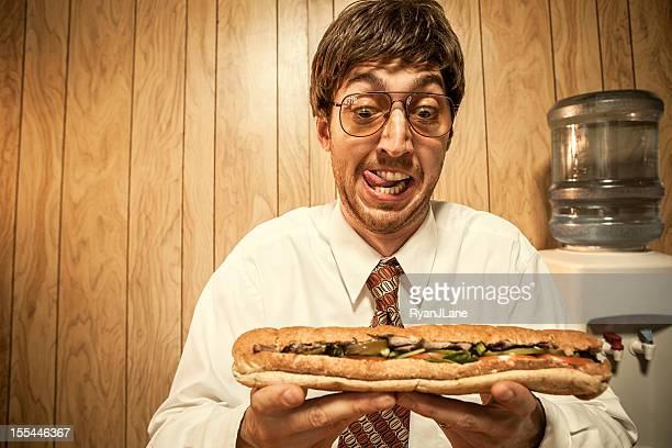 ビジネスの男性のオフィス、サンドイッチ