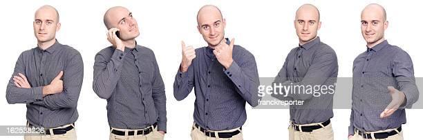 Homem de negócios em diferentes Posando isolado a branco