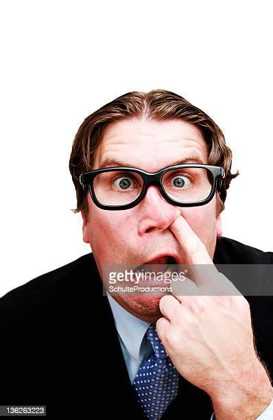 Business Man Nerd Picking Nose